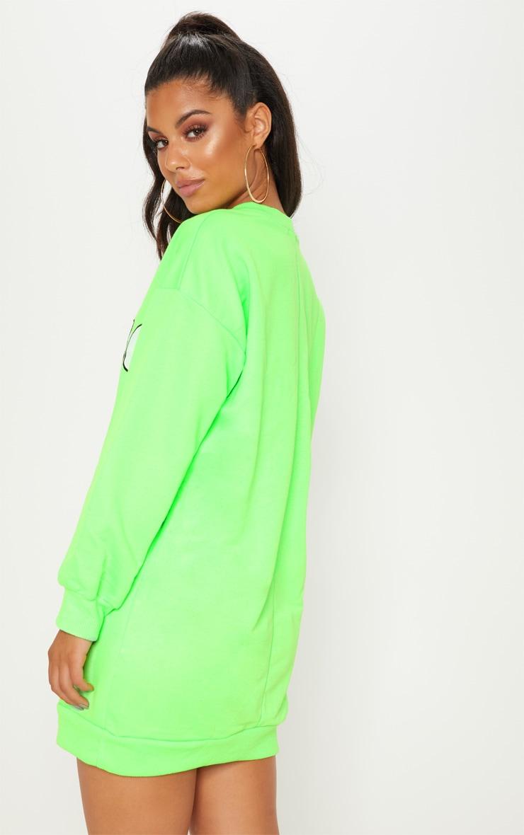 Neon Green Oversized Arizona Slogan Jumper Dress 2