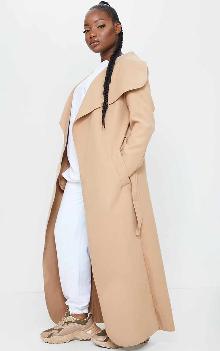 Petite Camel Maxi Length Oversized Waterfall Belted Coat 3