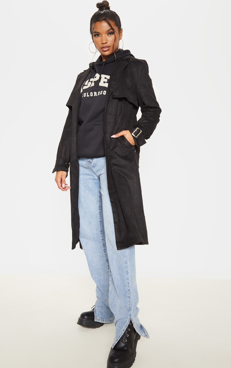 Black Faux Suede Trench 1