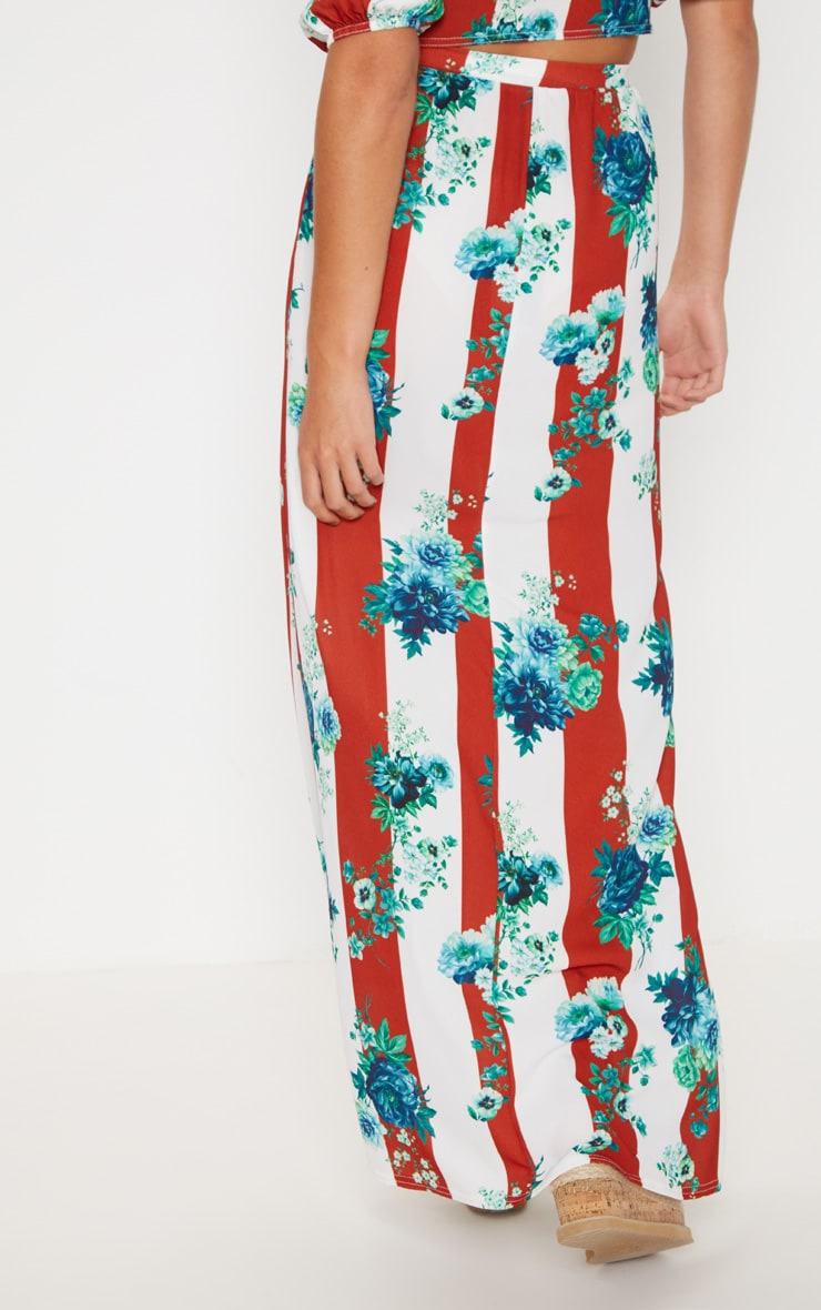 Multi Stripe Pebble Crepe Split Maxi Skirt 4