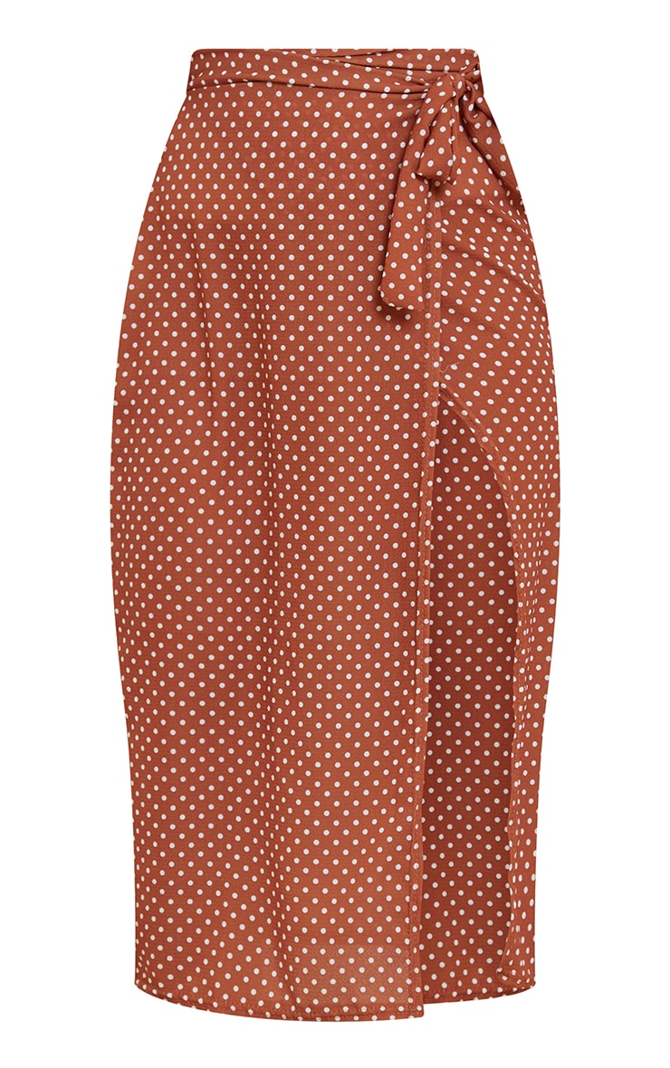 Rust Wrap Around Polka Dot Midi Skirt 5