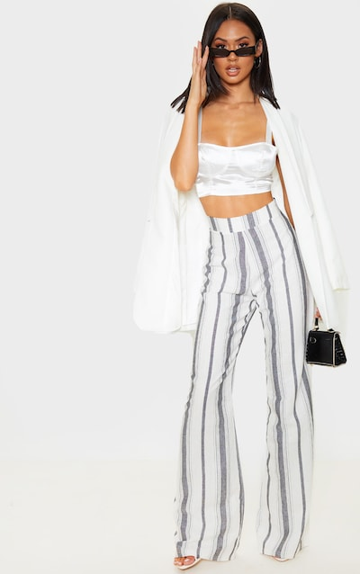 Mono Stripe Linen Wide Leg Trouser