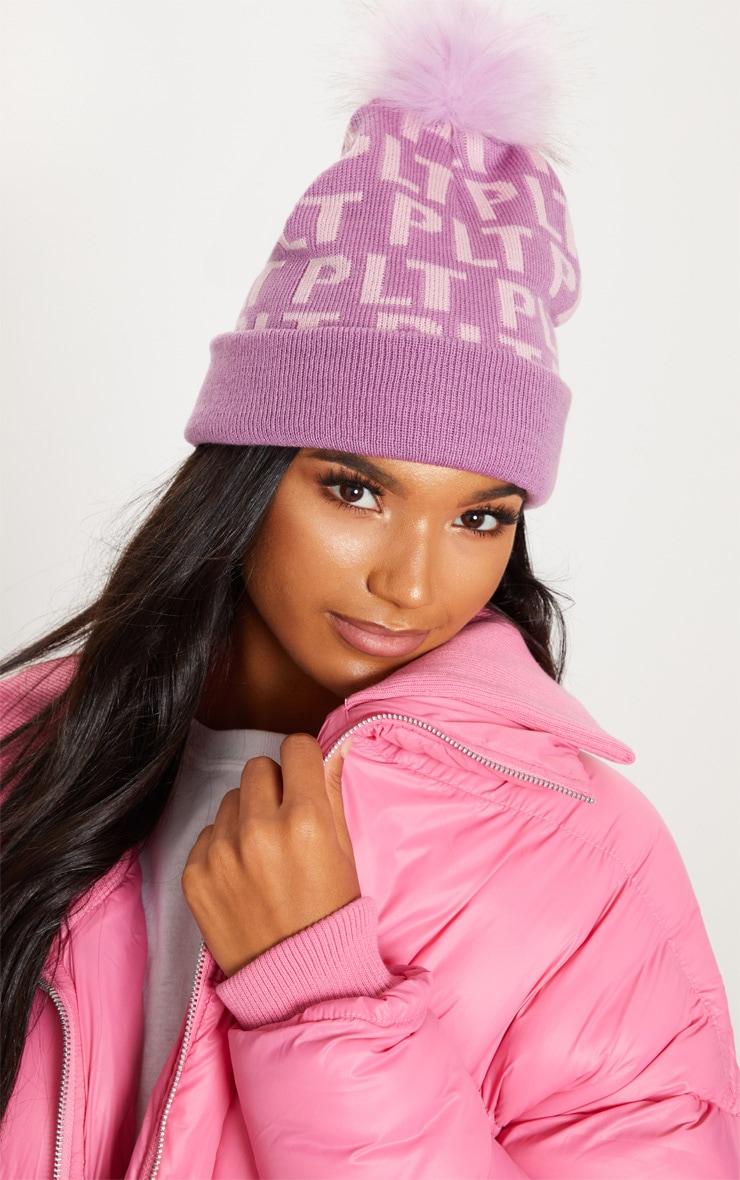 dd71199684b PRETTYLITTLETHING Pink Monogram Faux Fur Bobble Hat image 1