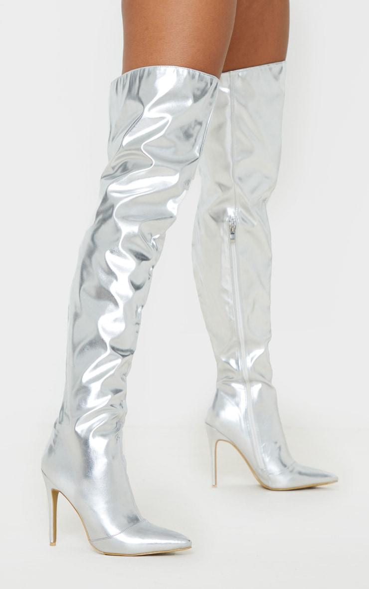 Silver Metallic Stiletto Thigh High Boot 2
