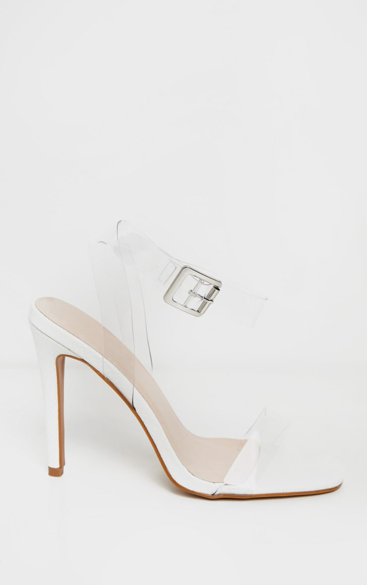White Snake Clear Strap Square Toe Heeled Sandal 3