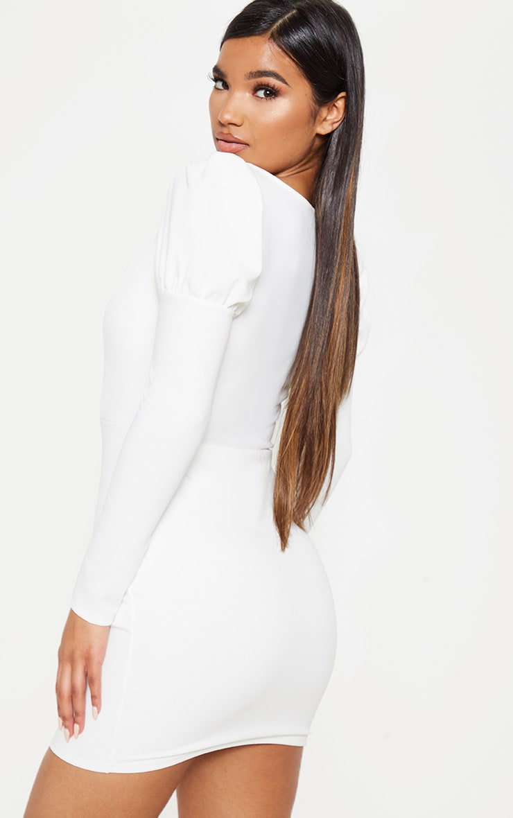 White Puff Shoulder Deep Plunge Bodycon Dress 2