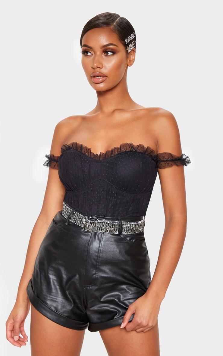 Black Dobby Mesh Bardot Bodysuit  1