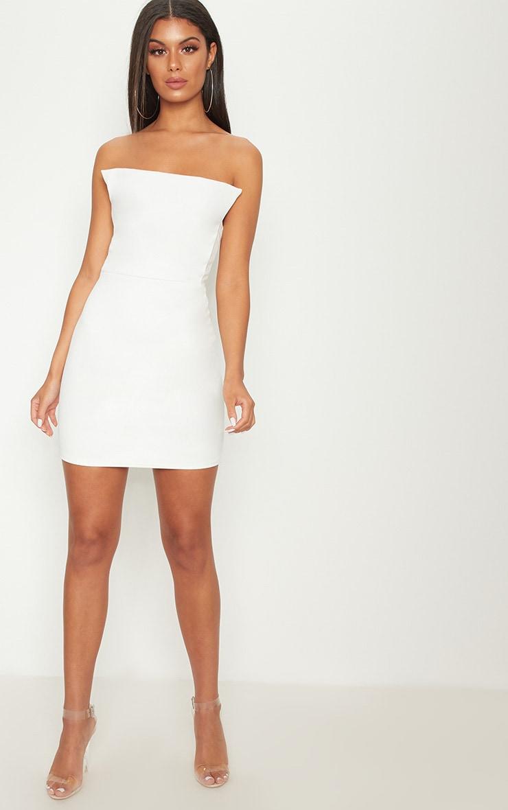 White Square Neckline Bandeau Bodycon Dress 3