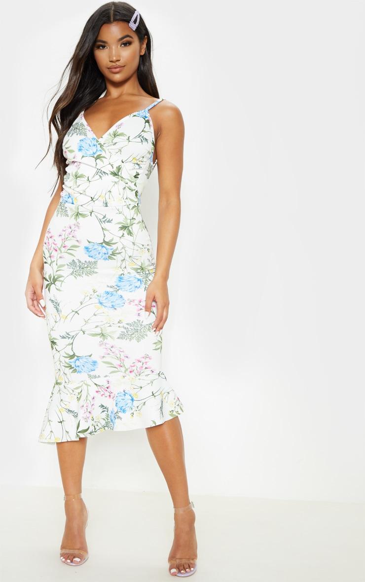 White Floral Print Wrap Front Flute Hem Midi Dress 3