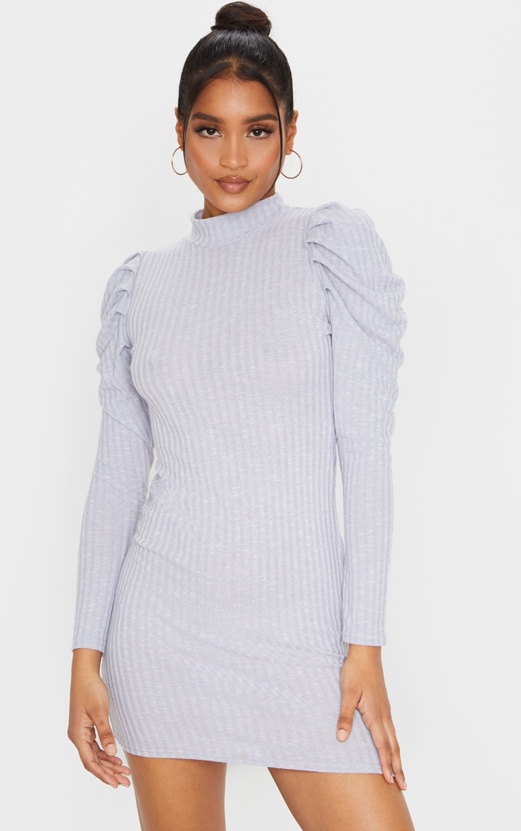 Grey Puff Shoulder Funnel Neck Rib Knitted Dress 1