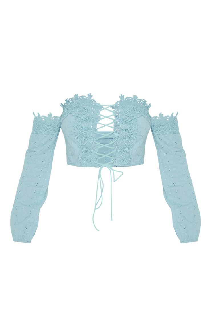 Sage Green Broderie Crochet Lace Up Bardot Crop Top 3