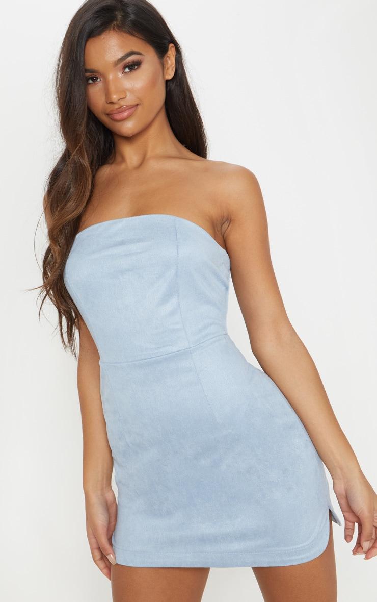 f1af2183999e Dusty Blue Faux Suede Bandeau Bodycon Dress | PrettyLittleThing