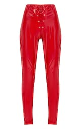 Red Vinyl Skinny Lace Up Pants 3