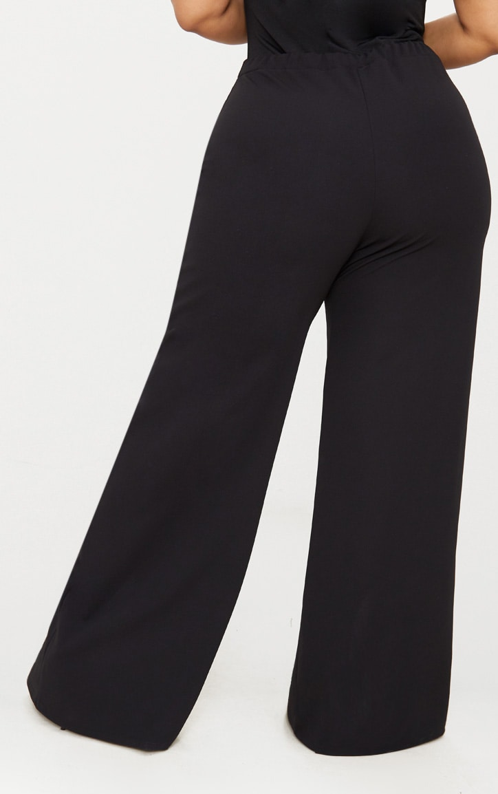 Plus Black Split Hem Straight Leg Trousers 4