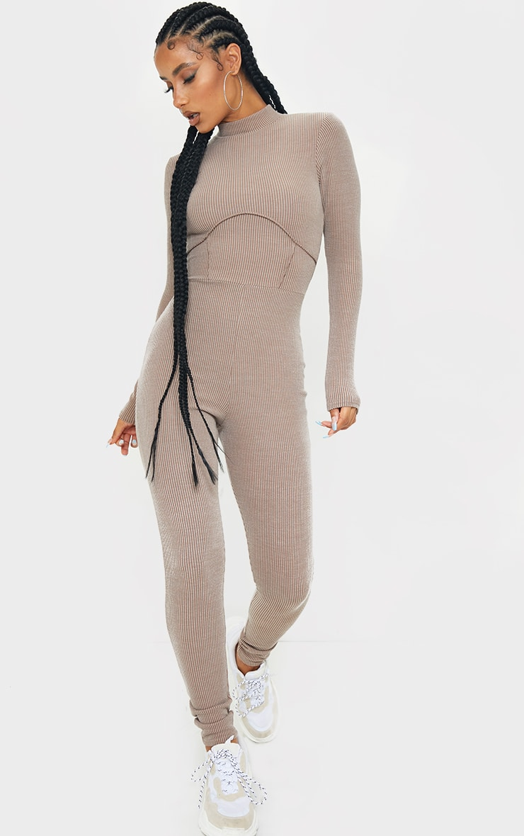 Stone Soft Rib Binding Detail High Neck Jumpsuit 1