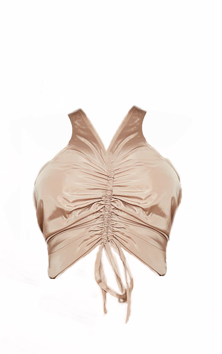 Shape Stone Nylon Extreme Ruched High Neck Crop Top 5