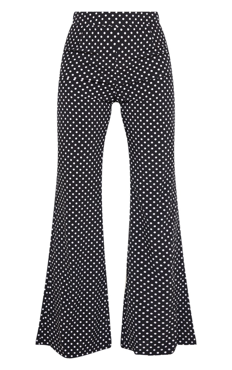 Black Polka Dot Print Wide Leg Pants 3