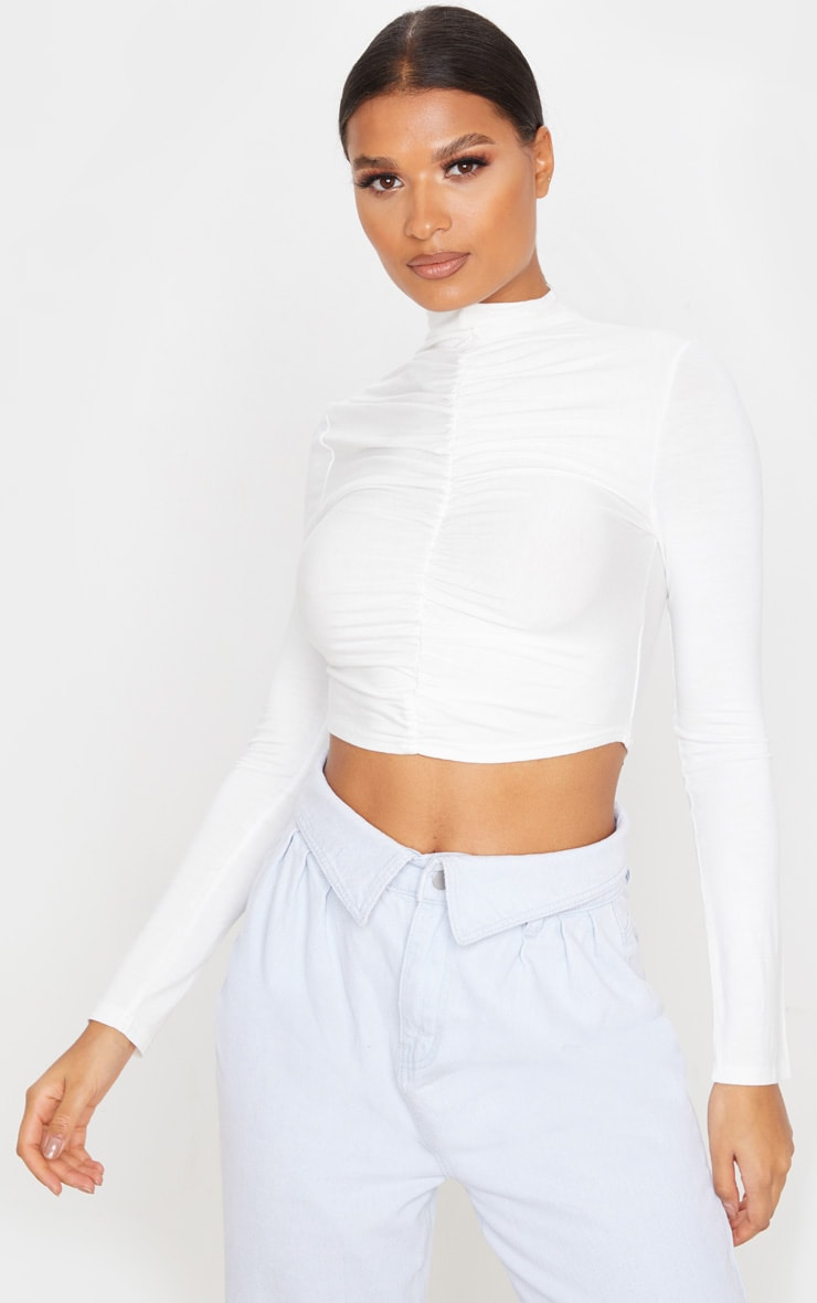 White Jersey High Neck Ruched Front Crop Top 1
