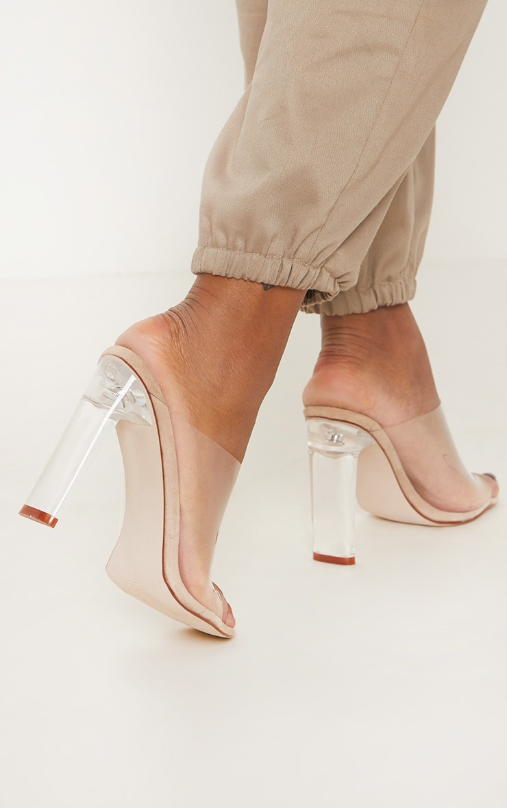 Nude Clear High Flat Heel Mule 2