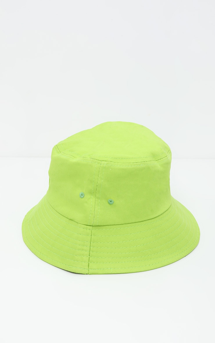 Neon Lime Plain Bucket Hat 3