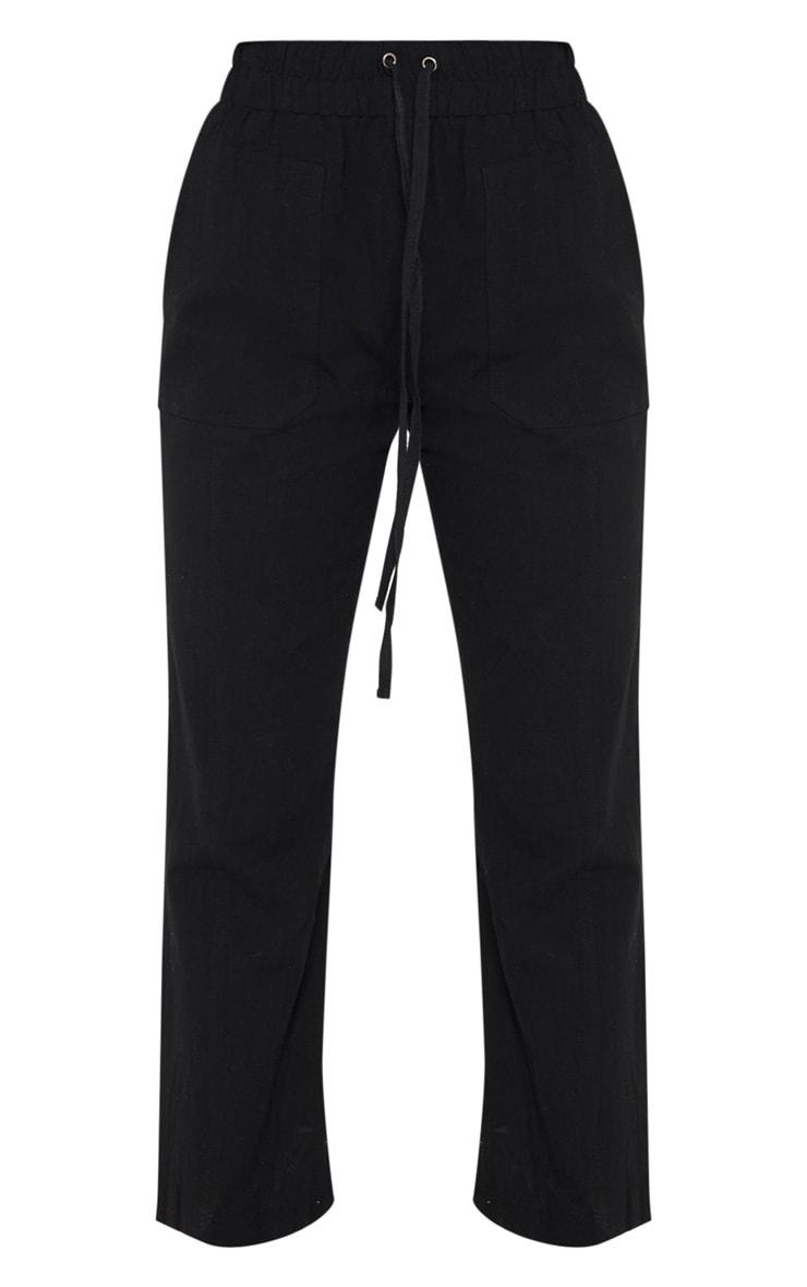 Petite Black Drawstring Woven Straight Leg Pants 3