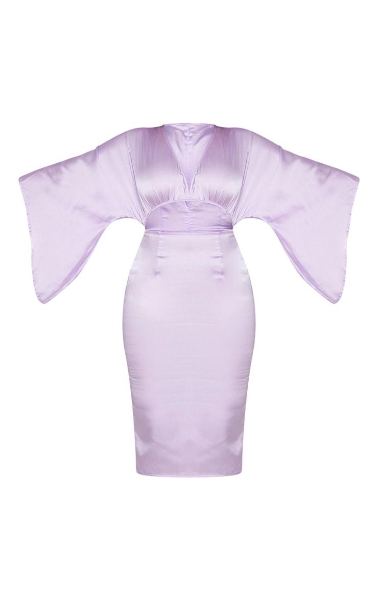Lilac Satin Cut Out Flare Sleeve Midi Dress 5