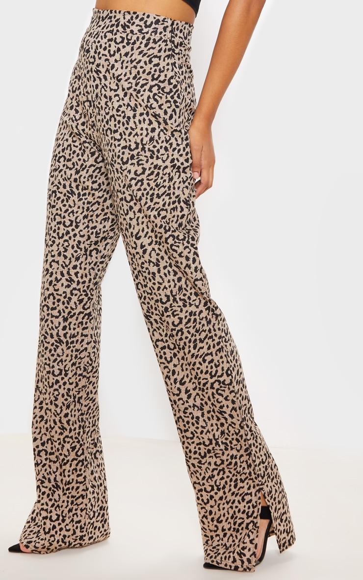 Stone Leopard Print Woven Split Hem Straight Leg Trouser 2