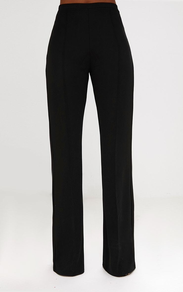 Black Front Seam Wide Leg Trousers 4