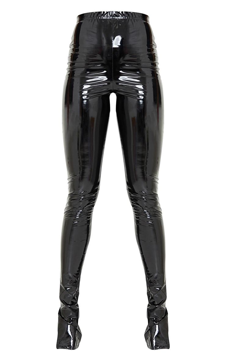 Tall Black Split Hem High Waisted Flared Vinyl Pants 5