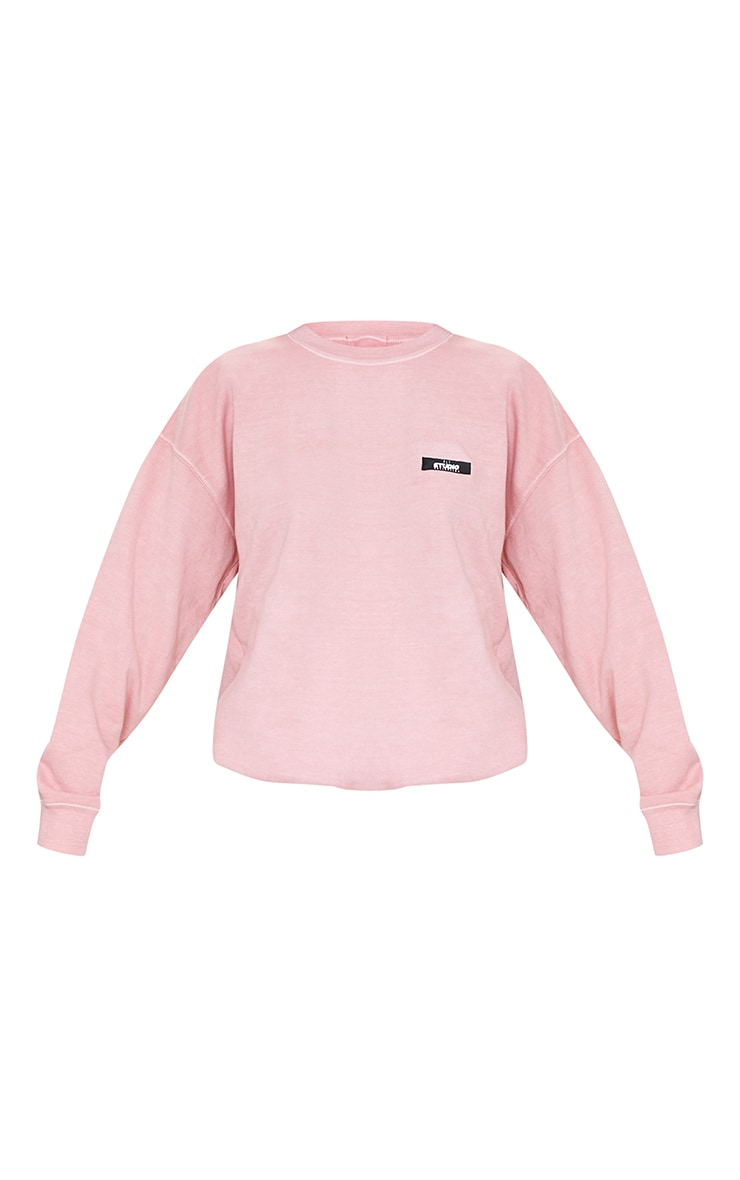 PRETTYLITTLETHING Dusty Pink Studio Washed Sweatshirt 5