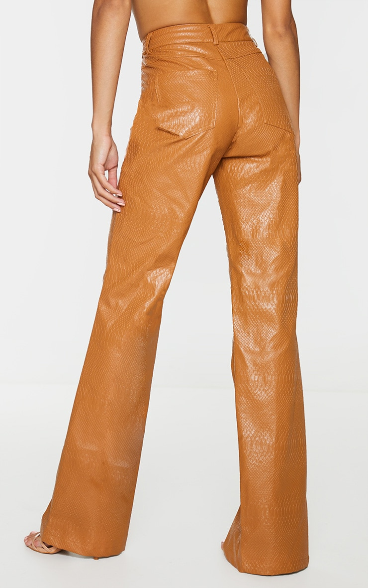 PREMIUM Tan Faux Leather Croc Split Hem Skinny Pants 3