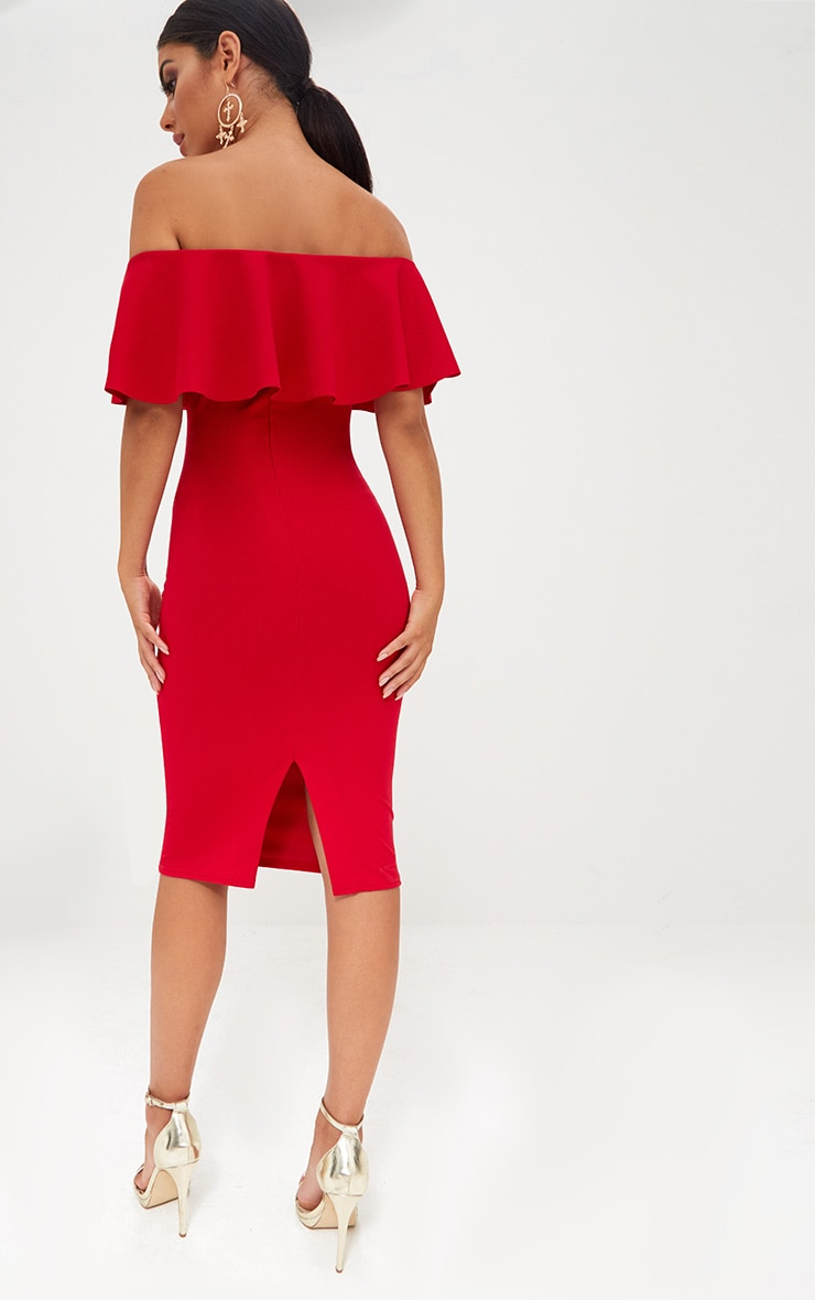 Red Bardot Frill Midi Dress  2