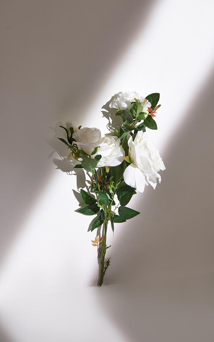 White Silk Garden Rose Artificial Flower 4