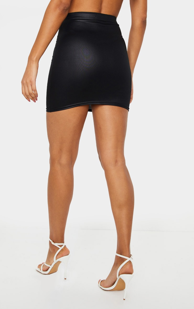 Black Leather Look Mini Skirt 3