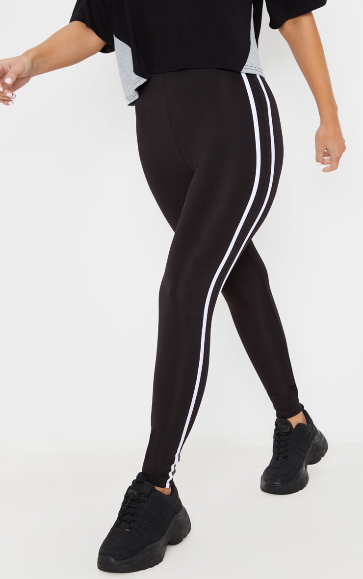 Black High Waist Contrast Stripe Gym Legging 3