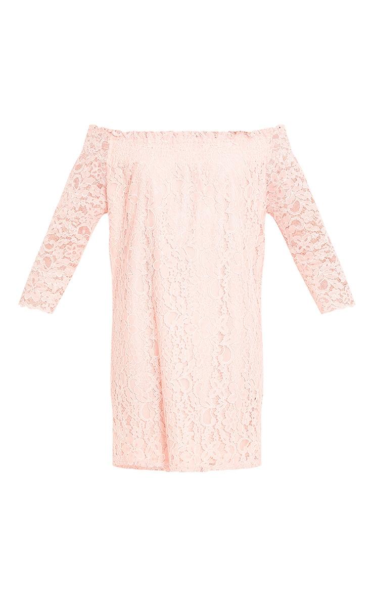 Cora Blush Lace Bardot Shift Dress 3