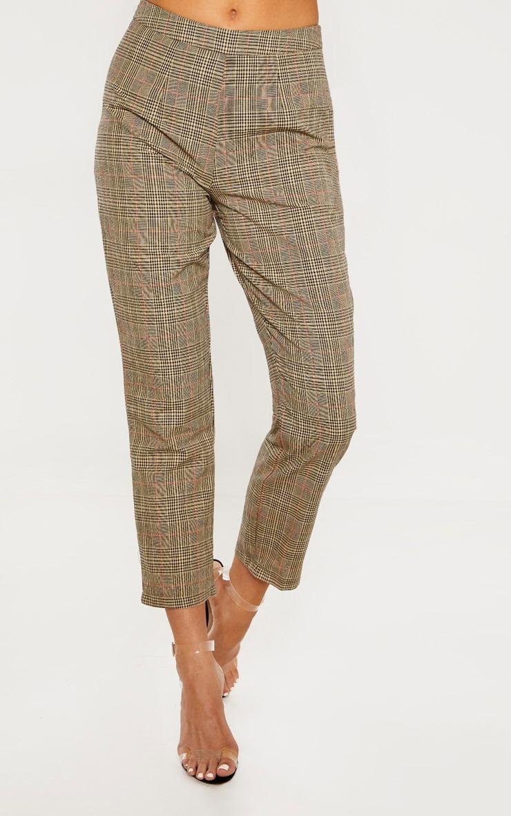 Tall - Pantalon droit marron imprimé carreaux 2