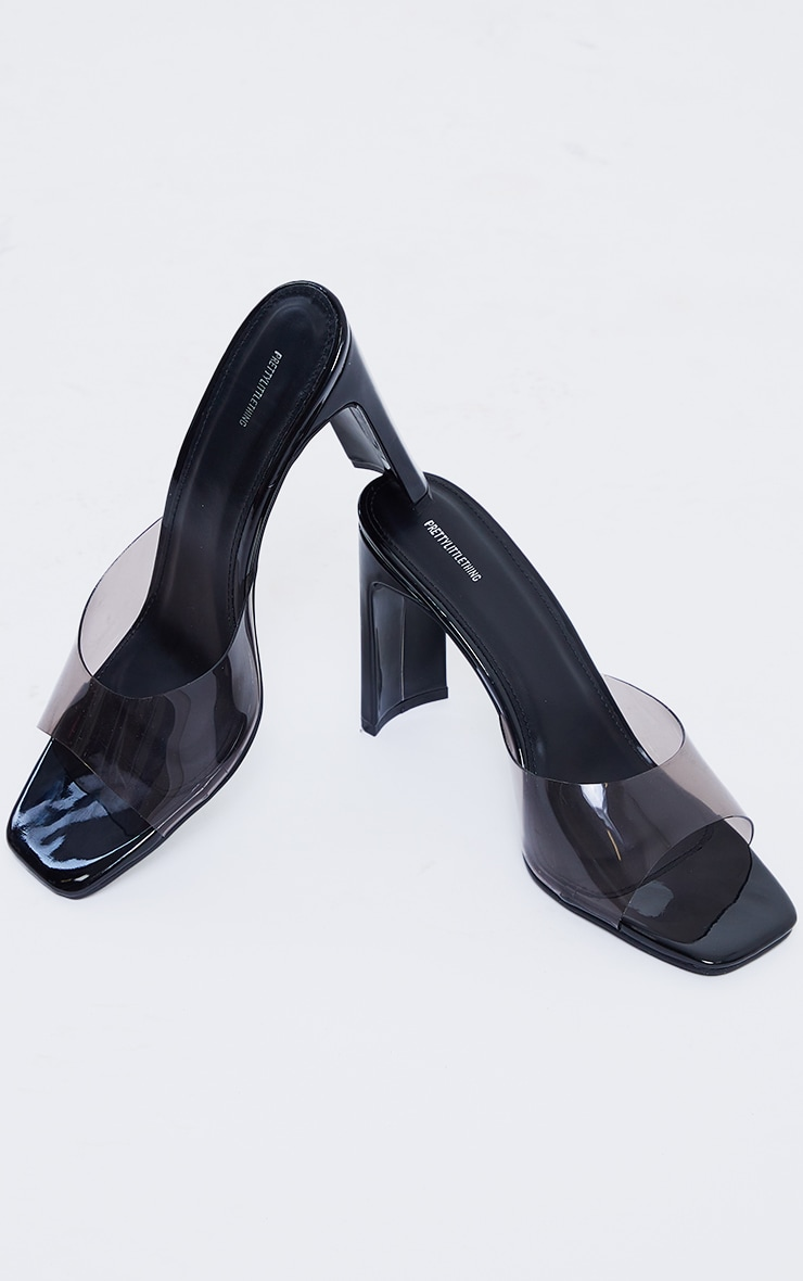 Black Clear Low Flat Heeled Mules 3