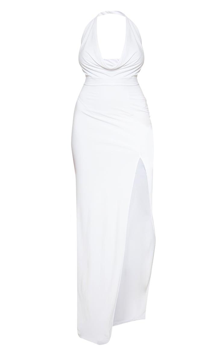 White Extreme Cowl Maxi Dress 3