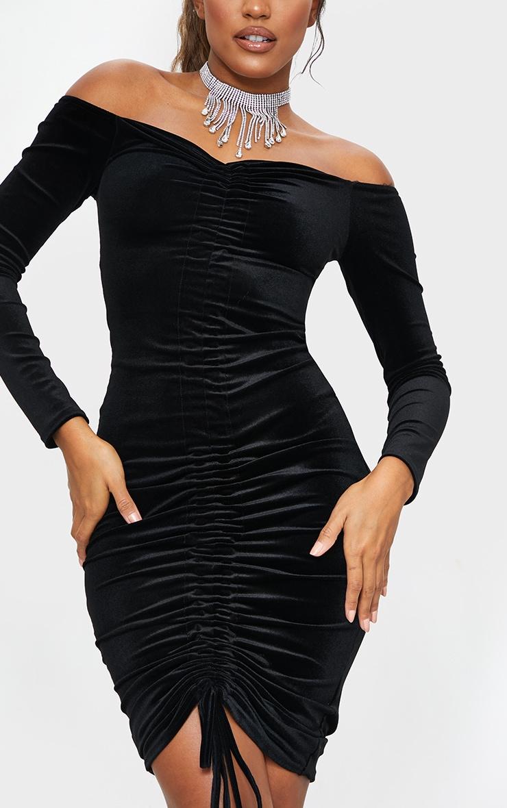 Black Velvet Bardot Ruched Midi Dress 4