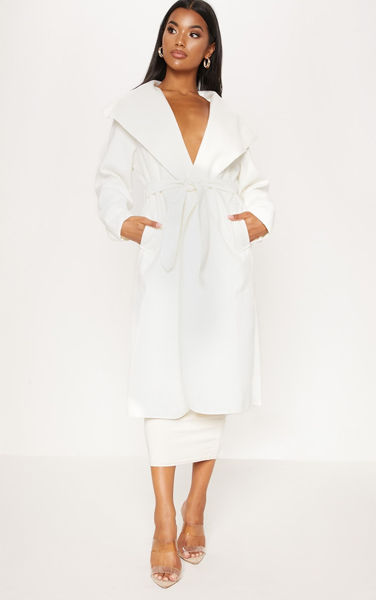 Veronica Cream Oversized Waterfall Belt Coat 1