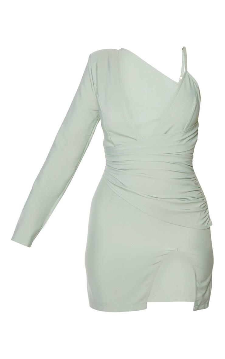 Sage Green Asymmetric Drape Split Bodycon Dress 5