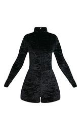 a84e38cea8 Hailey Black Velvet Long Sleeve Playsuit - Jumpsuits   Playsuits ...