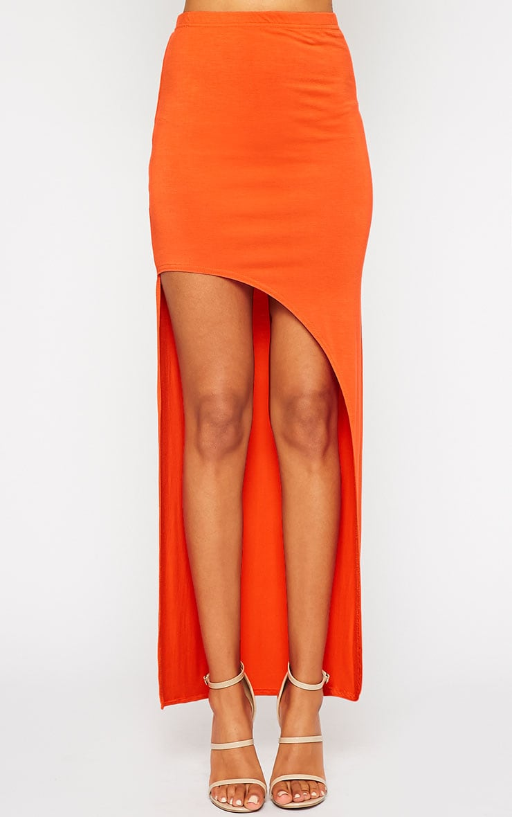 Ashlene Orange Curve Split Jersey Maxi Skirt 2