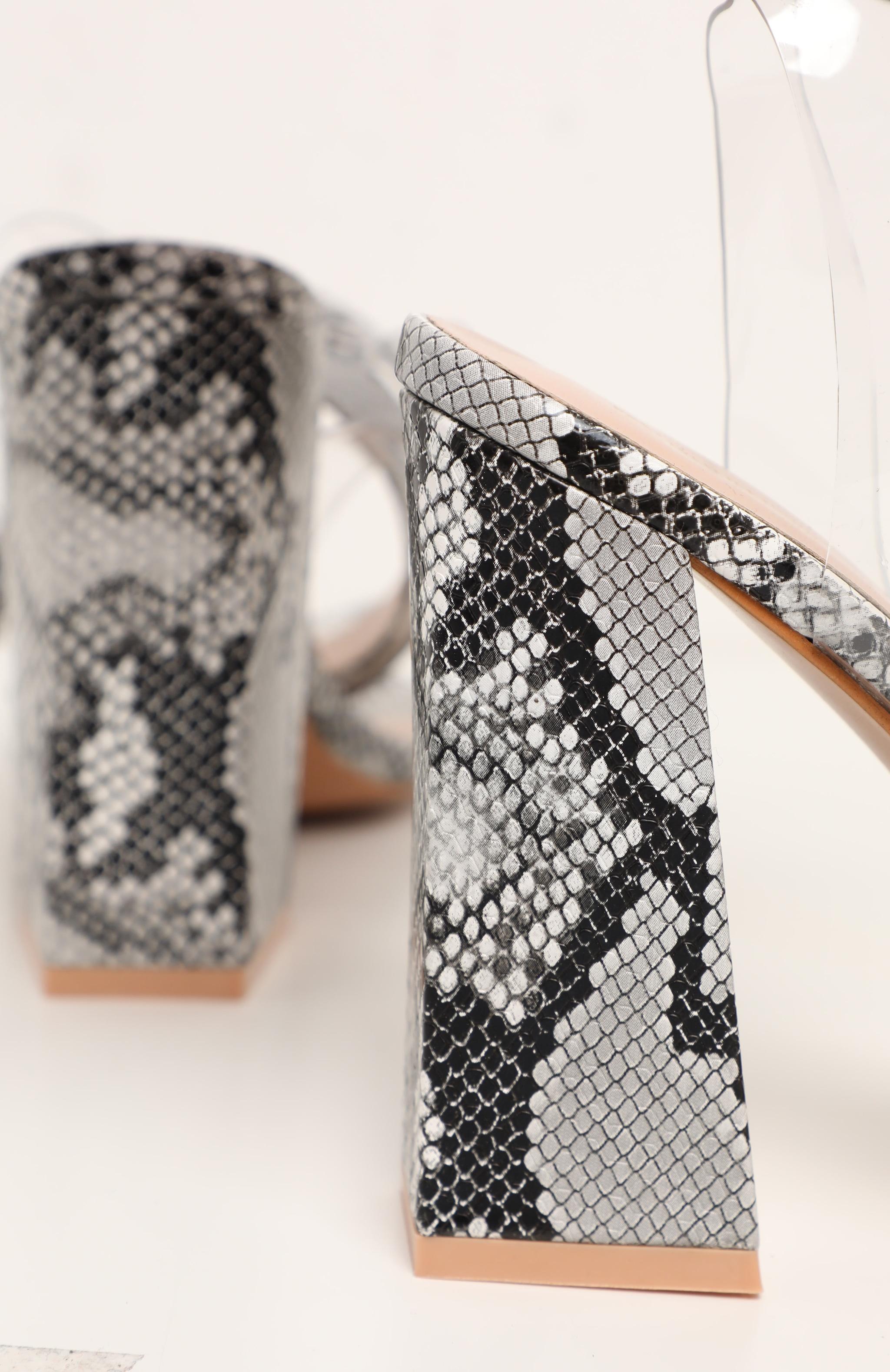 Snake Twist Ankle Strap Block Heel Sandals 4