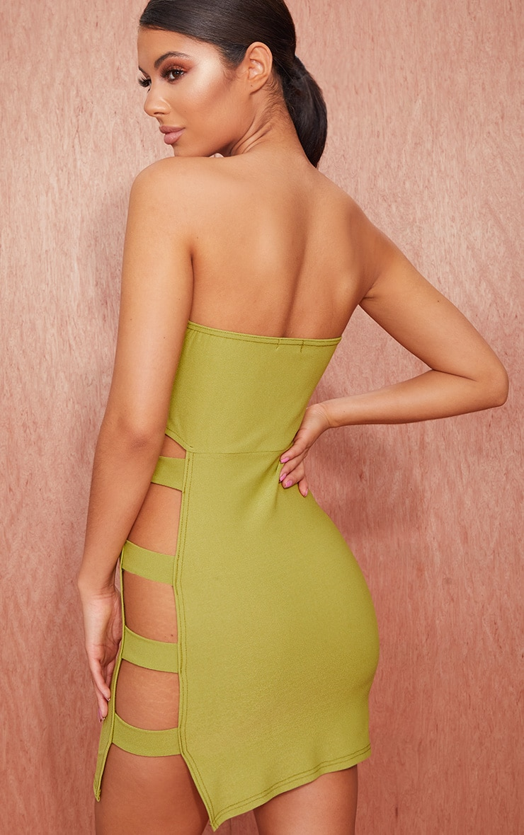 Olive Green Bandeau Strappy Side Bodycon Dress 2