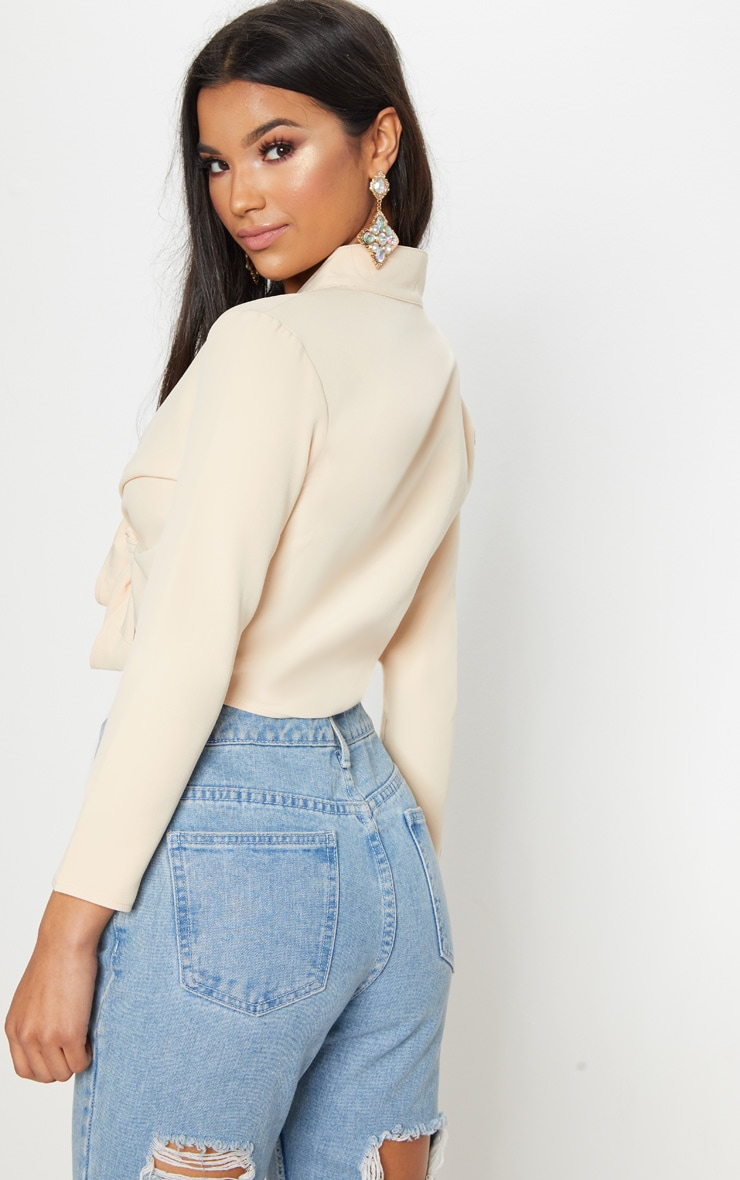Blanche Stone Tie Front Long Sleeve Crop Blouse 2