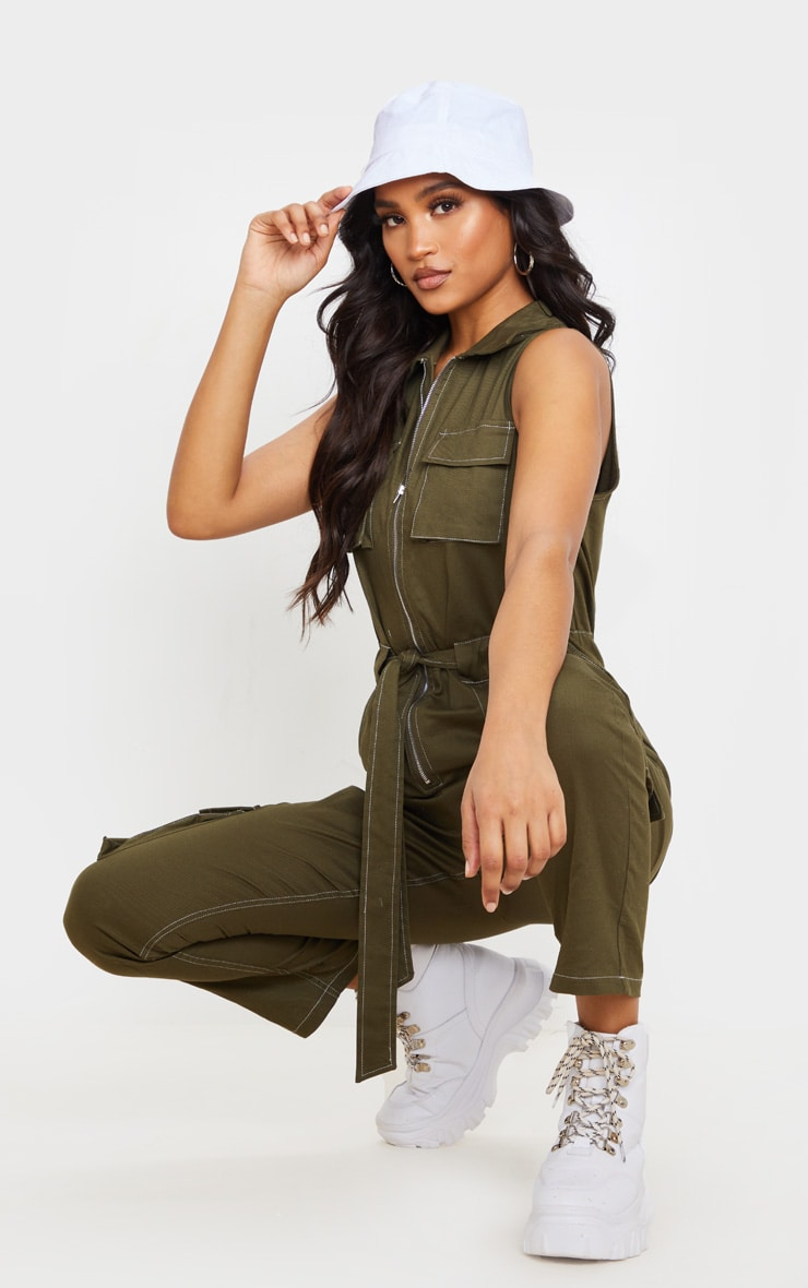 Khaki Zip Through Pocket Detail Utility Jumpsuit 5