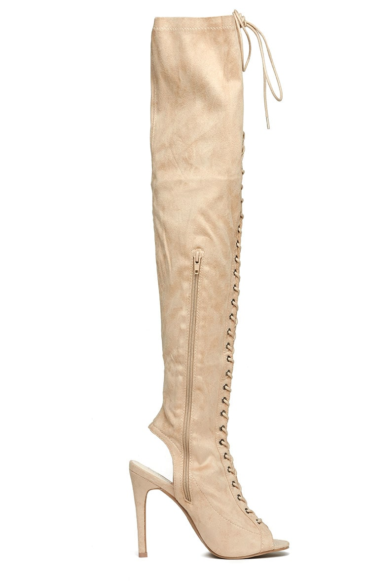 Valentina Nude Suede Lace Up Thigh Boots 5