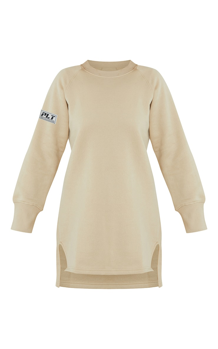 PRETTYLITTLETHING Stone  Slogan Dip Hem Sweat Sweater Dress 5